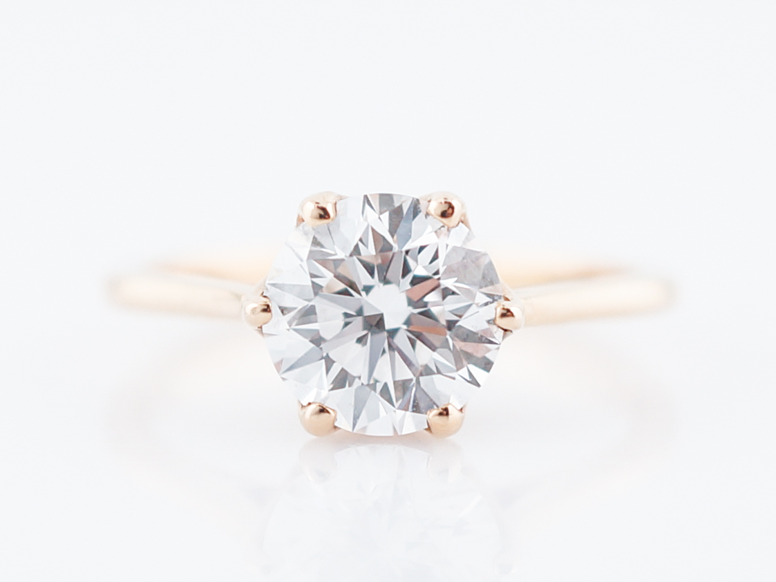 GIA Solitaire Diamond Rose Gold Engagement Ring F/VVS2