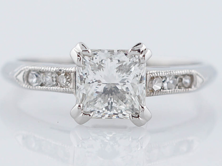Square Engagement Ring Art Deco Style Princess Cut