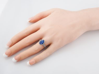 Modern Right Hand Ring 2.56 Oval Cut Halo Tanzanite & Micro Pave Round Diamonds in Platinum