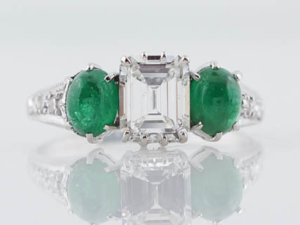 and diamond to cabochon engagement ring enlarge deco next emerald rings click previous photo art