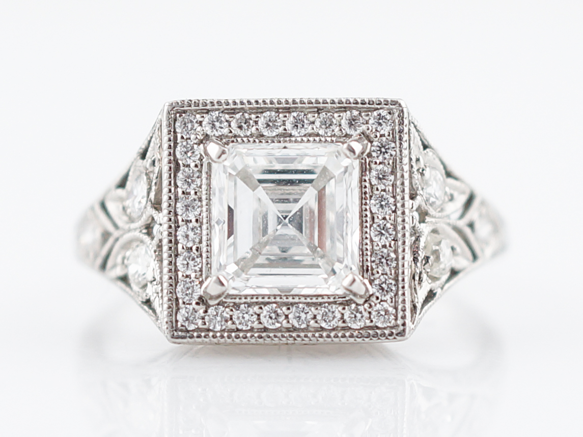 white ring halo gold platinum split asscher kaplan claw arthur diamond cut products shank engagement