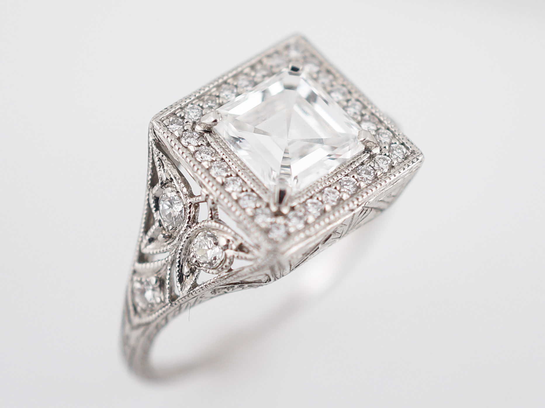 cut asher diamond asscher ring shop vintage rectangular platinum products cts