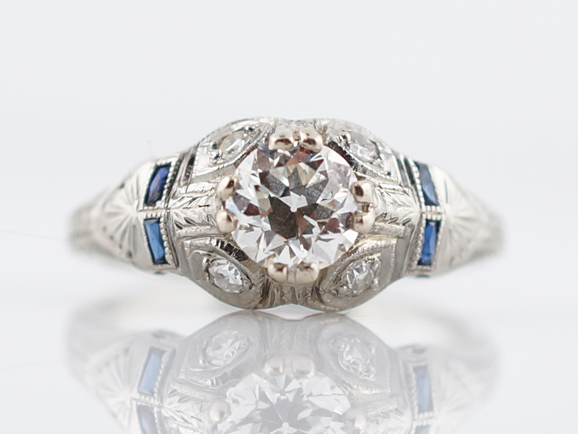 Engraved 1920's Diamond & Sapphire Engagement Ring