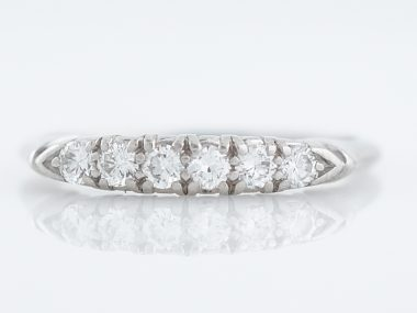 Wedding Band Mid-Century .24 Round Brilliant Diamonds in Platinum