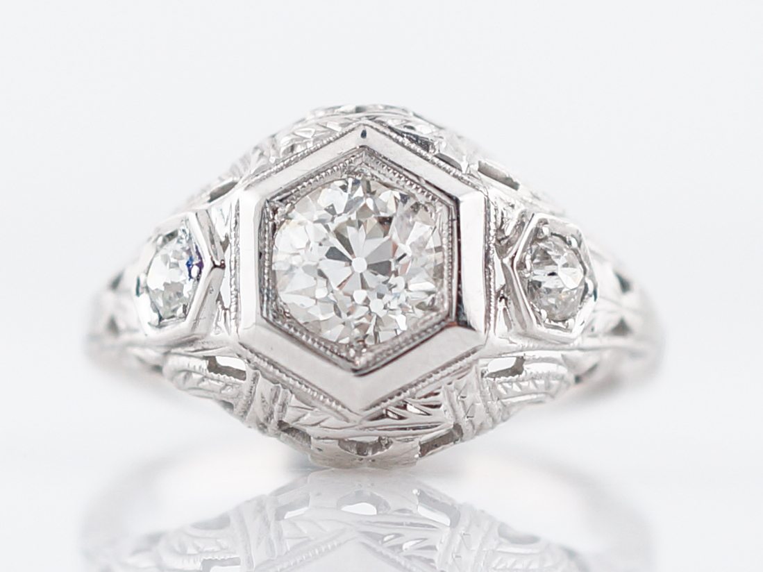 Ornate Filigree Engagement Ring Old European Cut Diamond