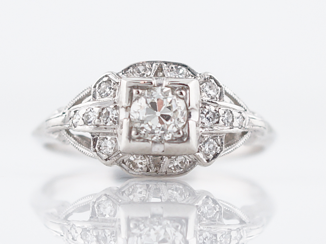 Antique Art Deco Old European Diamond Engagement Ring