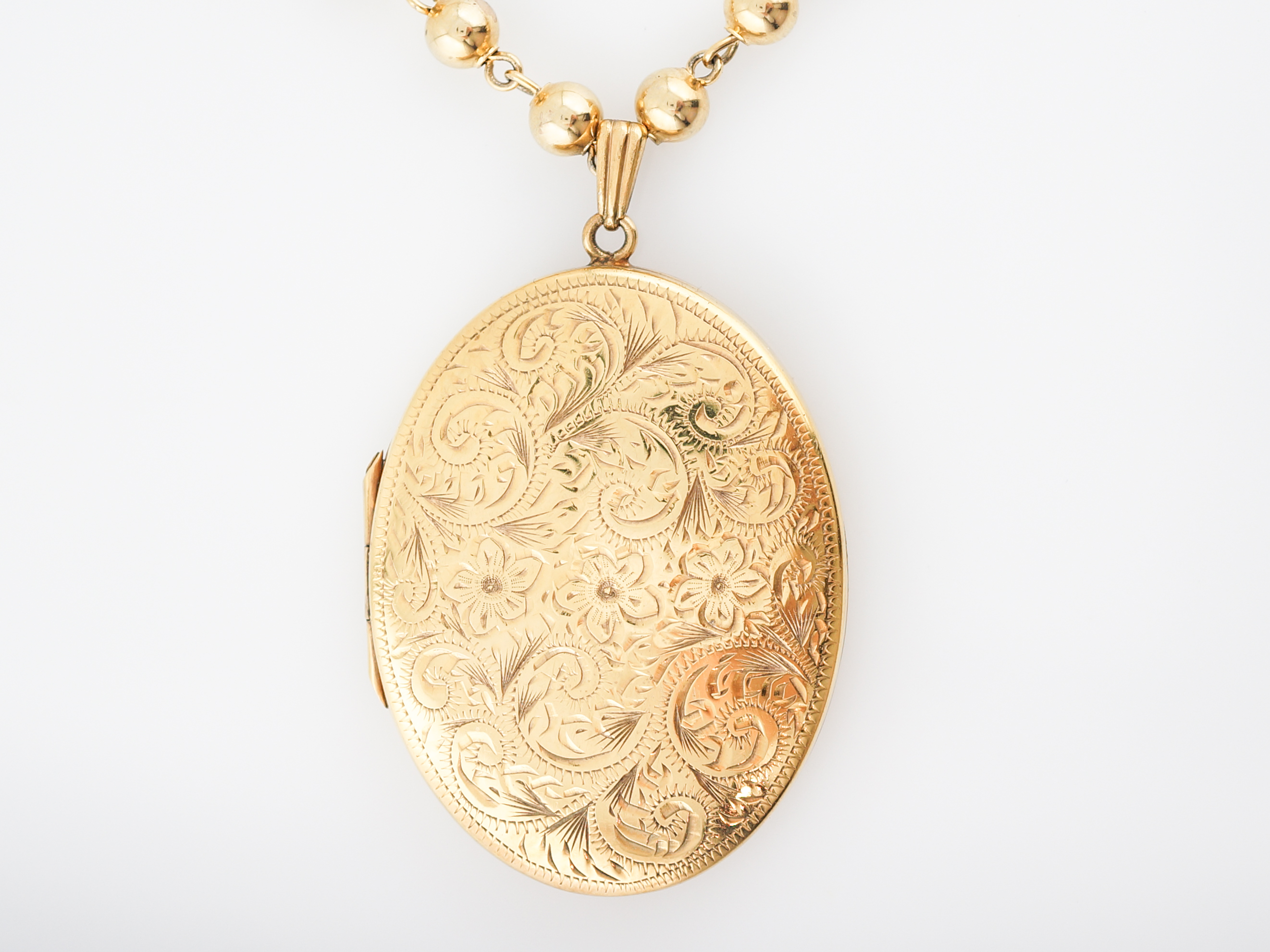 Antique victorian necklace large oval locket in 14k yellow gold home estate fine jewelry aloadofball Images