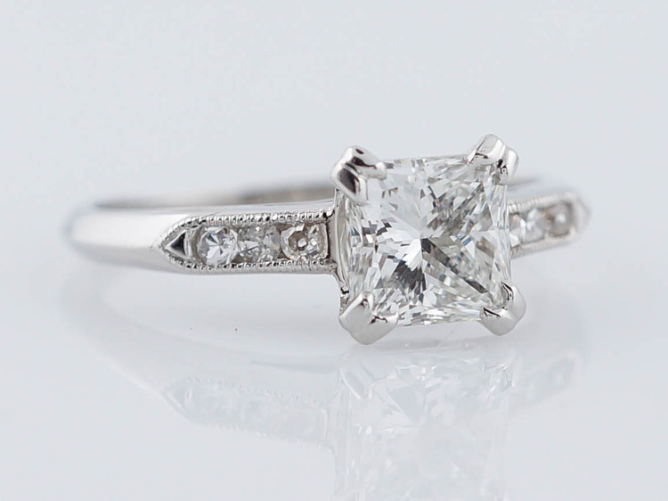 Antique Engagement Ring Art Deco 121ct Princess Cut Diamond in
