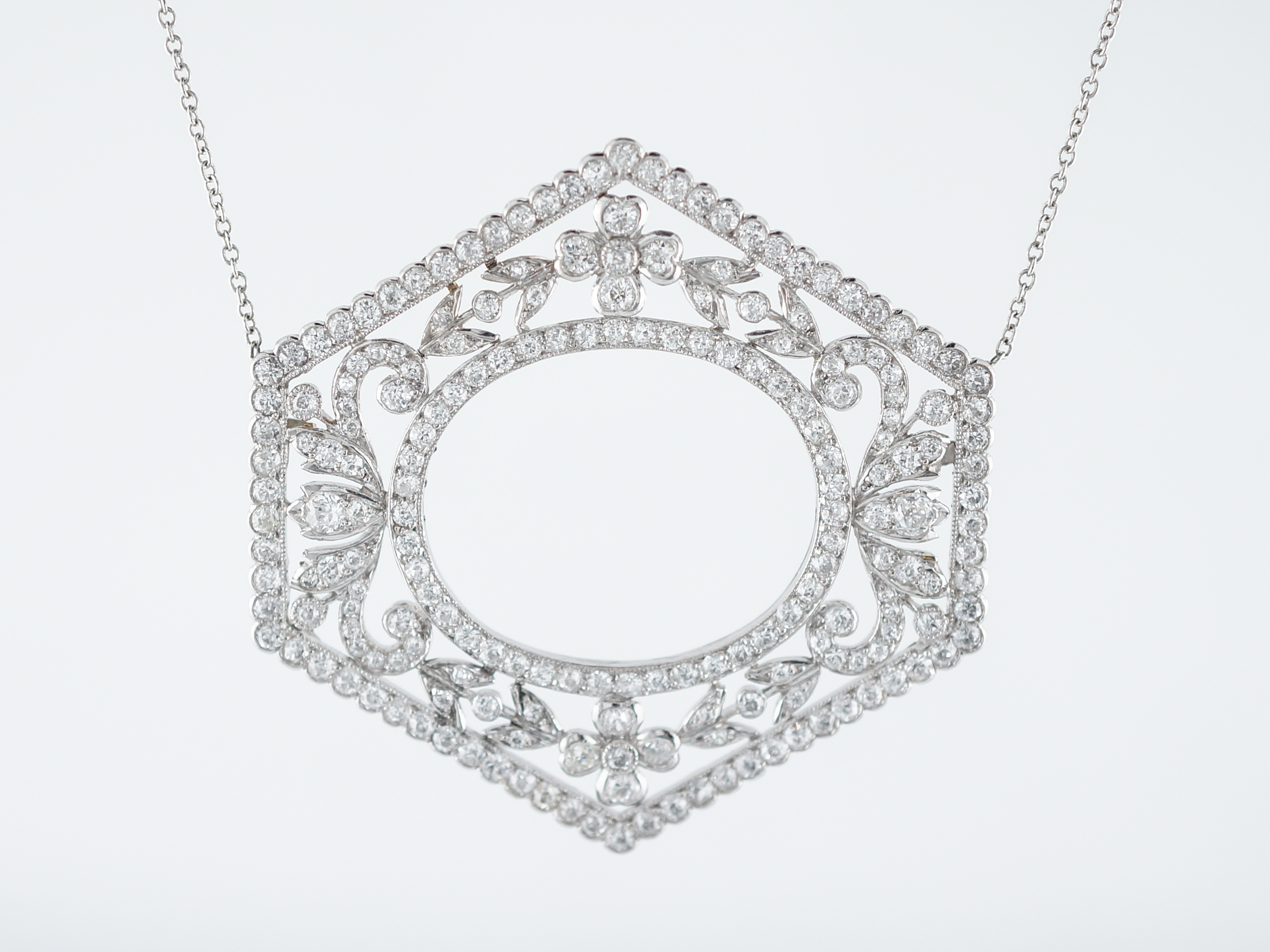in tw necklace cut halo diamond platinum kite step