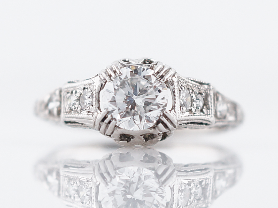 Detailed Art Deco Brilliant Cut Diamond Engagement Ring