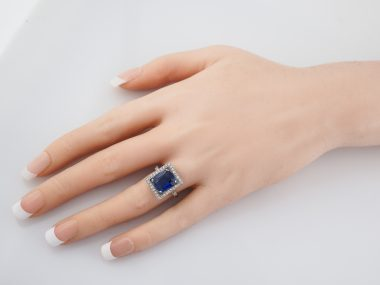 4 Carat Cushion Sapphire Engagement Ring Art Deco