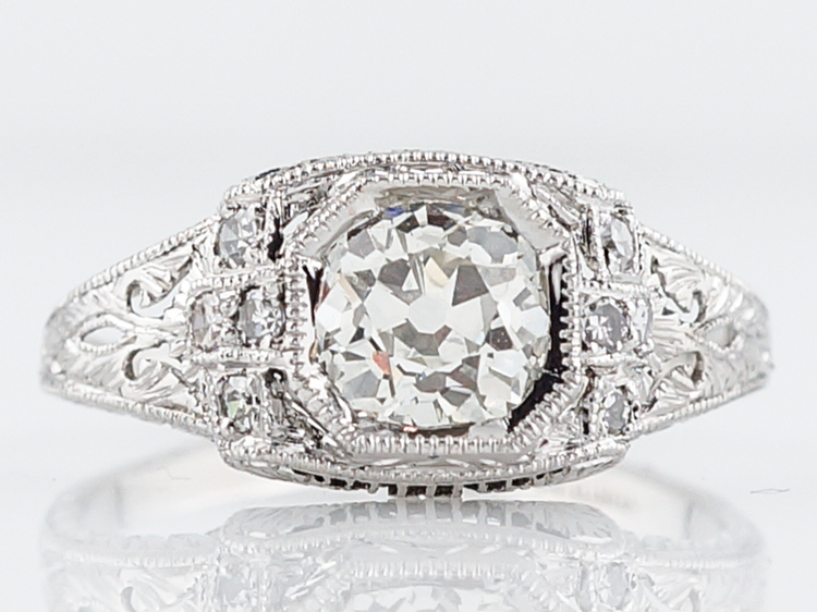 Detailed Low Profile Vintage Engagement Ring in Platinum
