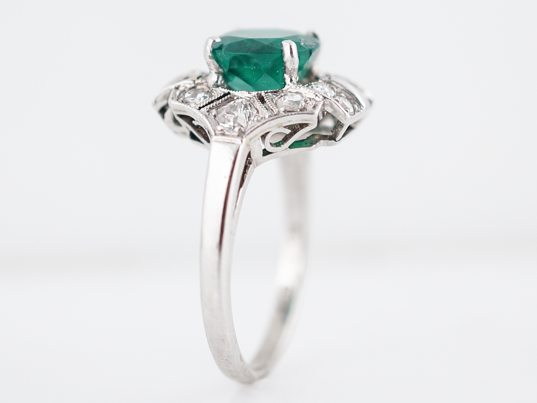 leonard bridal from platinum cut ring diamond image emerald halo