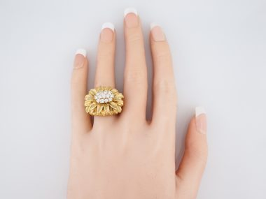 Vintage Right Hand Ring Mid Century 1.04 Round Brilliant Cut Diamonds in 14k Yellow Gold
