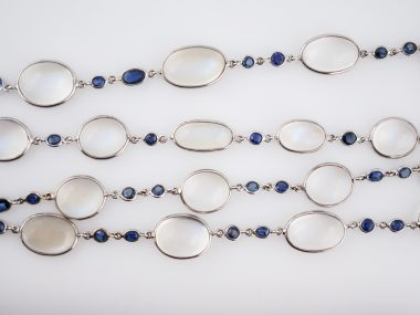 Necklace Modern 189.00 Cabochon Cut Moonstones & 8.00 Sapphire in 18k White Gold
