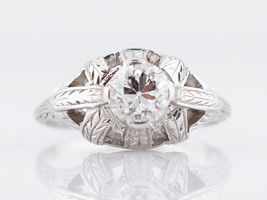 Engraved Antique Engagement Ring Art Deco Diamond
