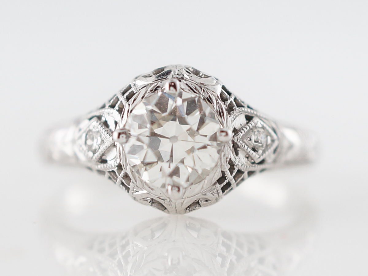 Filigree Diamond Solitaire Engagement Ring 1920's