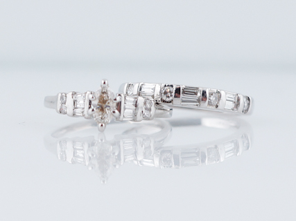 Engagement Ring Modern .25 Marquise Cut Diamond & Matching Diamond Wedding Band in 14k White Gold
