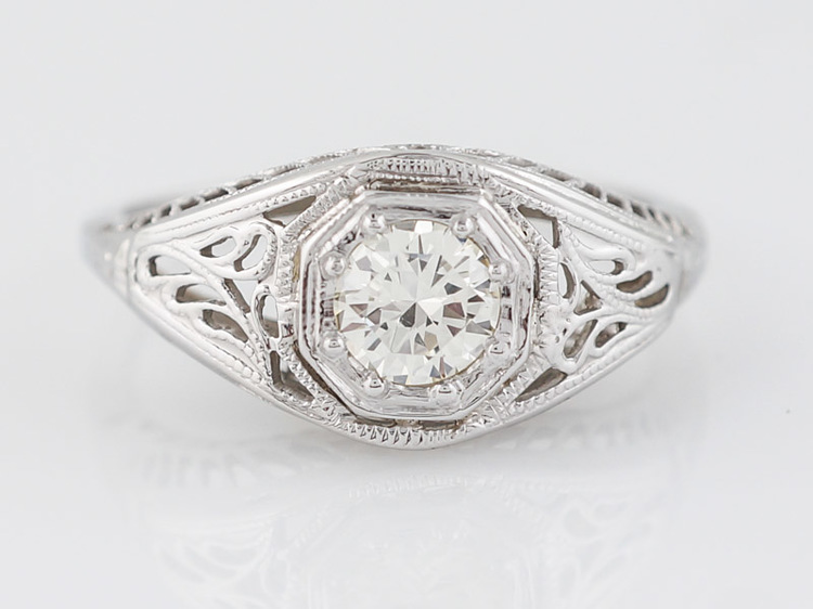 Art Deco Filigree Old Euro Diamond Engagement Ring