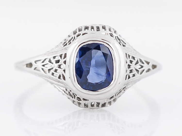 Vintage Filigree Sapphire Engagement Ring in 14k & Platinum