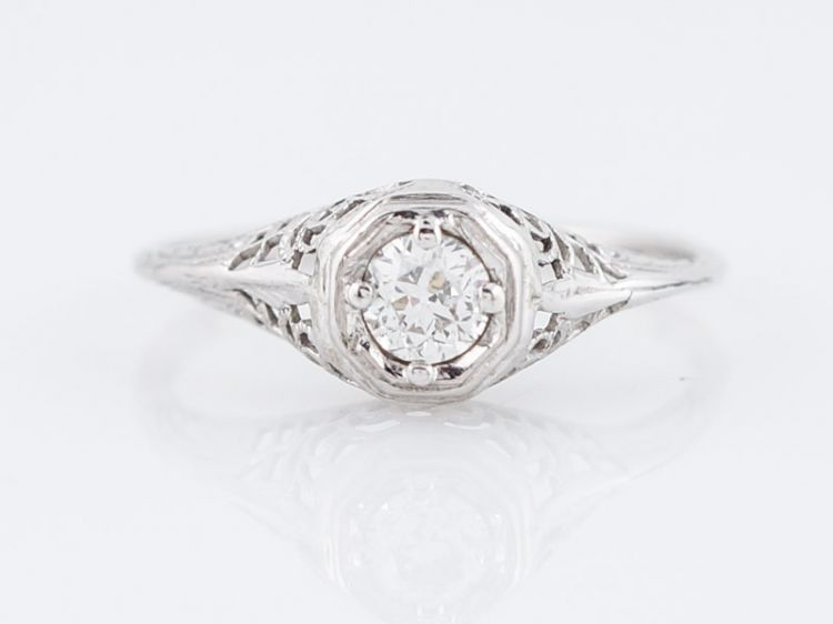 Filigree Solitaire Diamond Engagement Ring Art Deco Platinum