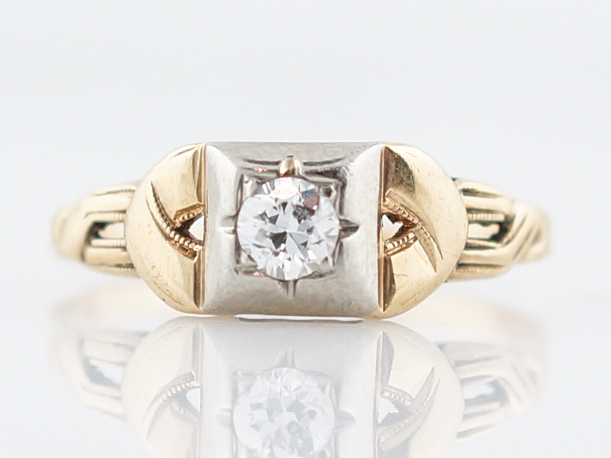 Two Tone Diamond Ring Retro 1940's in 14k