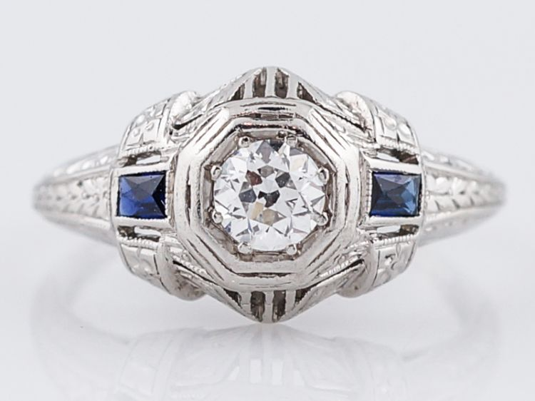 Art Deco Old Euro Diamond & Sapphire Engagement Ring