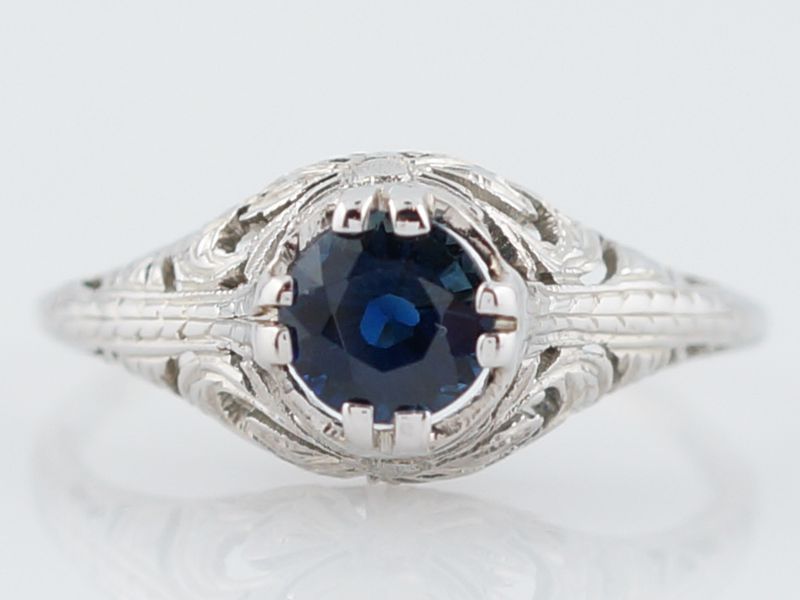 Blue Sapphire Engagement Ring Art Deco Belais Brothers