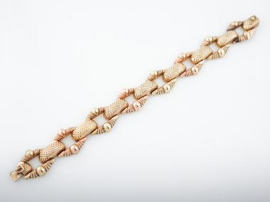 Vintage Bracelet Mid-Century in 14k Yellow and Rose Gold