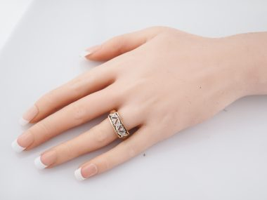 Vintage Right Hand Ring Mid-Century .05 Round Brilliant Cut Diamonds in 14K Yellow & White Gold