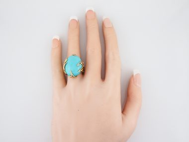 Vintage Cocktail Ring Mid-Century 24.5 Cabochon Turquoise in 18k Yellow Gold