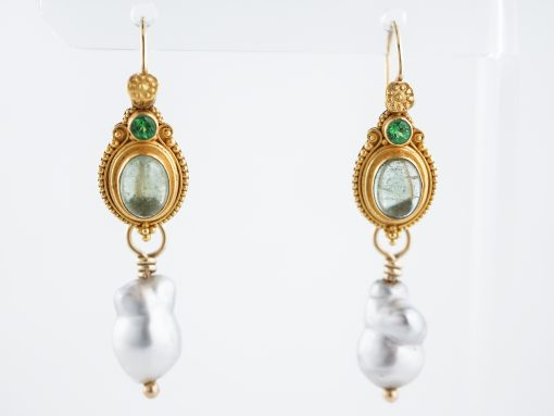 Vintage Earrings Mid-Century Tourmaline & Pearl in 22k Yellow Gold