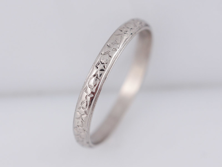 SOLDAntique Wedding Band Art Deco Floral Engraved in Vintage
