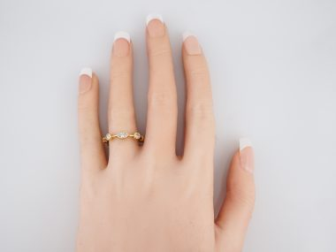 Modern Right Hand Ring 1.20 Marquis & Round Brilliant Cut Diamonds in 18k Yellow Gold