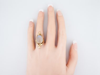 Antique Art Nouveau Cocktail Ring Cabochon Moonstone in 14k Yellow Gold