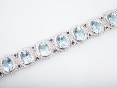 Modern Wendy Hill 41.75 Aquamarine, Sapphire & Diamond Bracelet in 18k White Gold