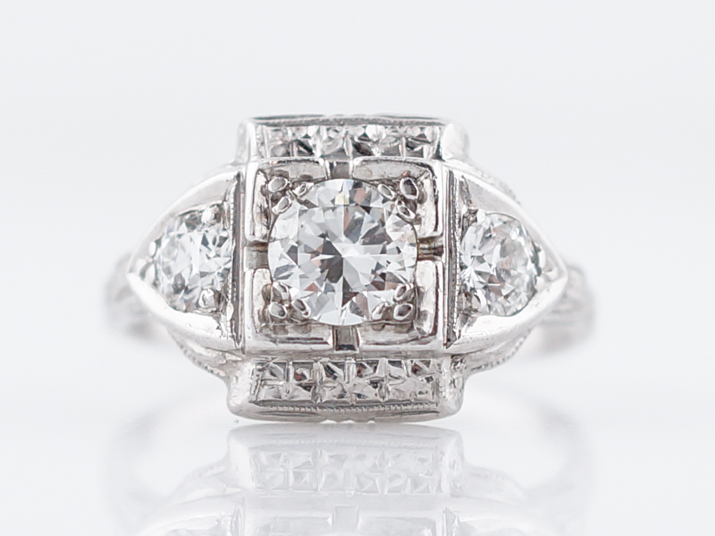 Art Deco Transitional Cut Diamond Ring in Platinum