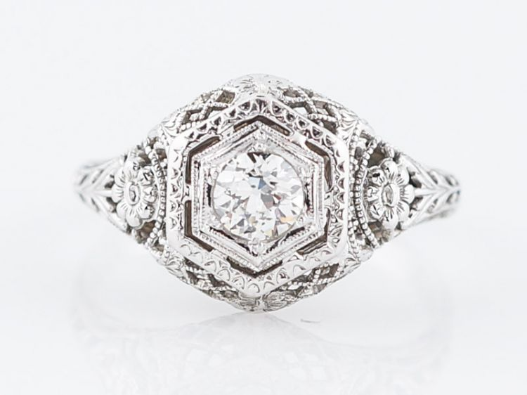 Floral Diamond Engagement Ring Art Deco Filigree in 18k