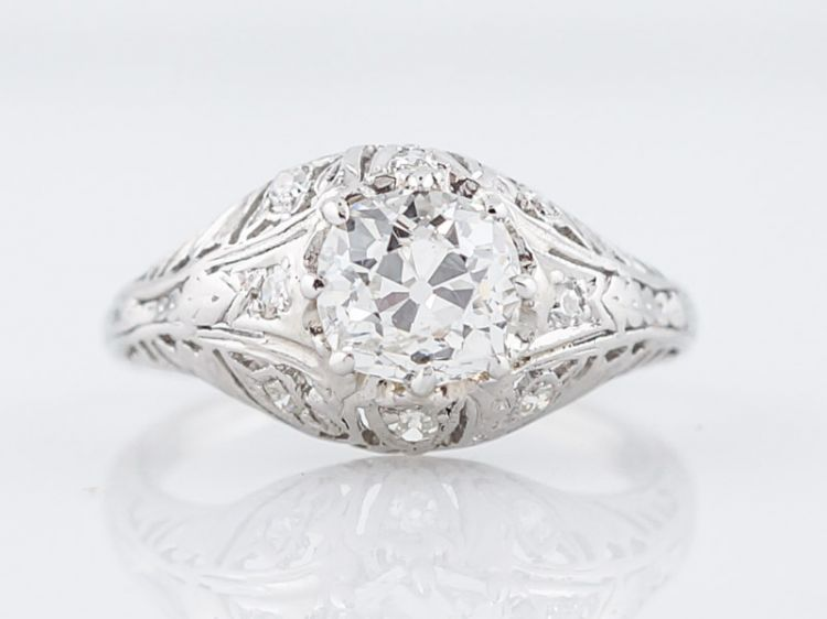 Vintage Filigree Engagement Ring 1 Carat European Diamond