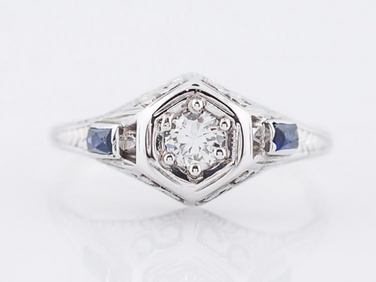 Engraved Art Deco Engagement Ring Brilliant Diamond & Sapphires