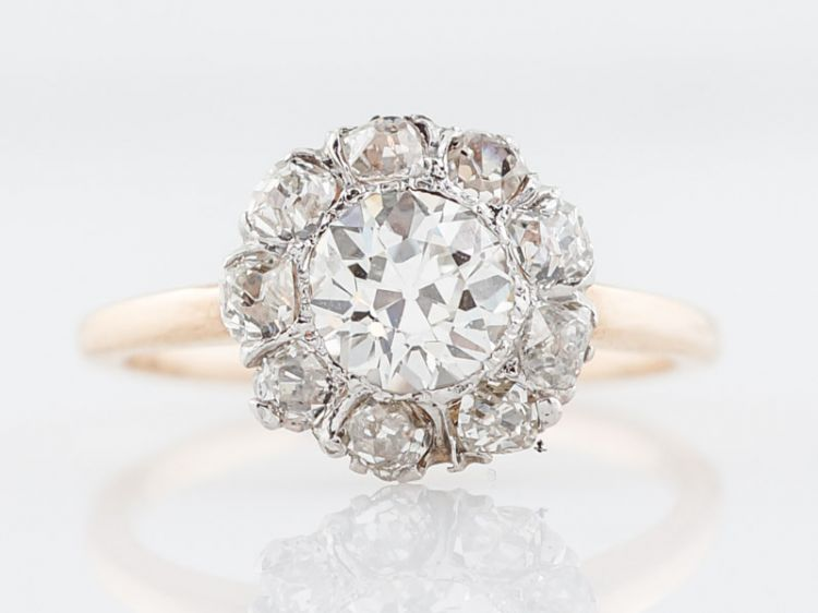 Cluster Diamond Engagement Ring European Diamonds in 14k