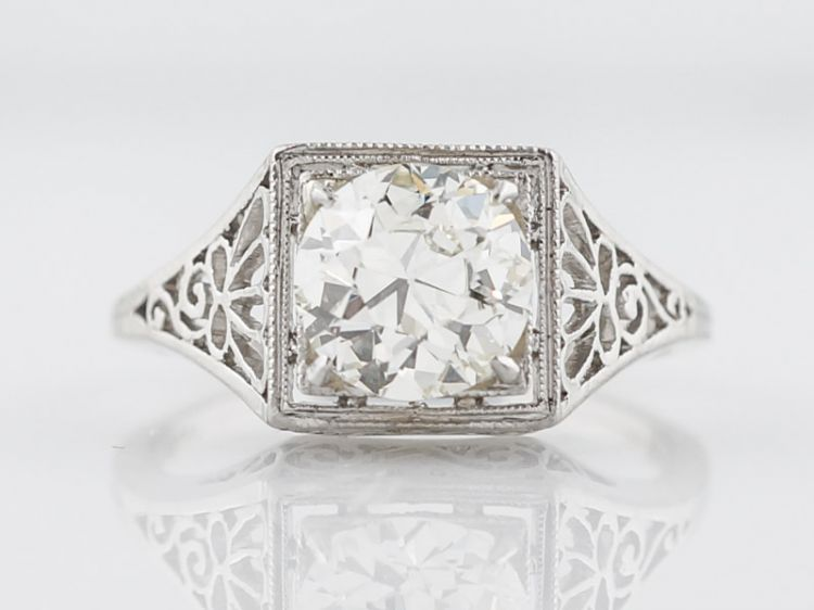 Filigree Diamond Engagement Ring Art Deco Platinum
