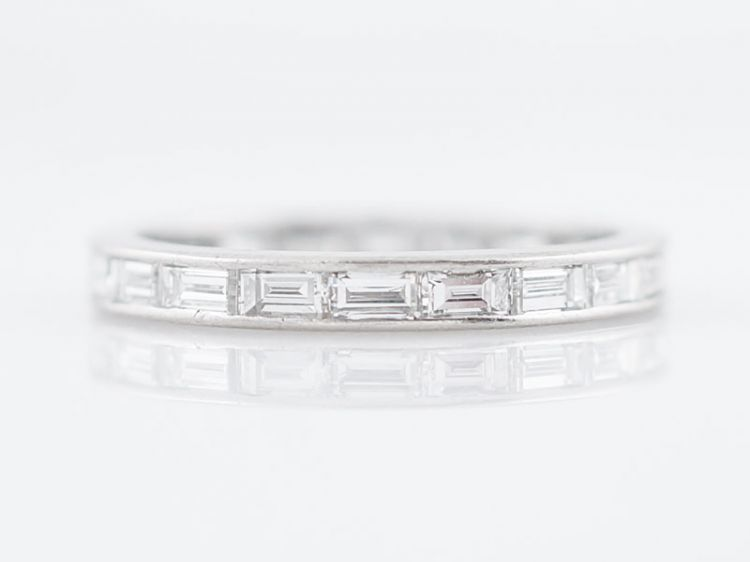 Sold Antique Eternity Wedding Band Art Deco 1 00 Baguette Cut Diamonds In Platinum Filigree Jewelers