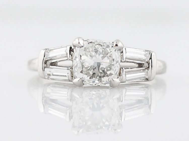 Cushion Cut Solitaire Diamond Engagement Ring Art Deco