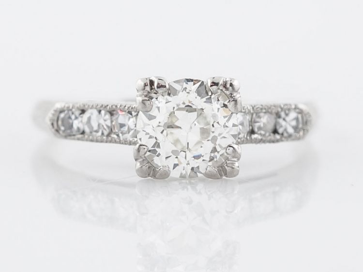 Classic 1 Carat Diamond Engagement Ring Art Deco