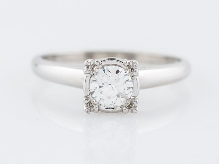 Solitaire Diamond Ring Vintage Mid-Century in 14k