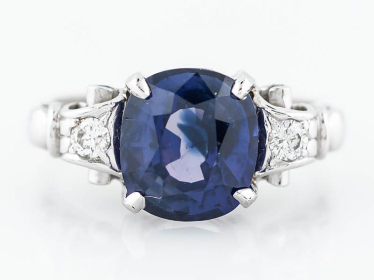 No Heat Sapphire Engagement Ring Vintage 1950's