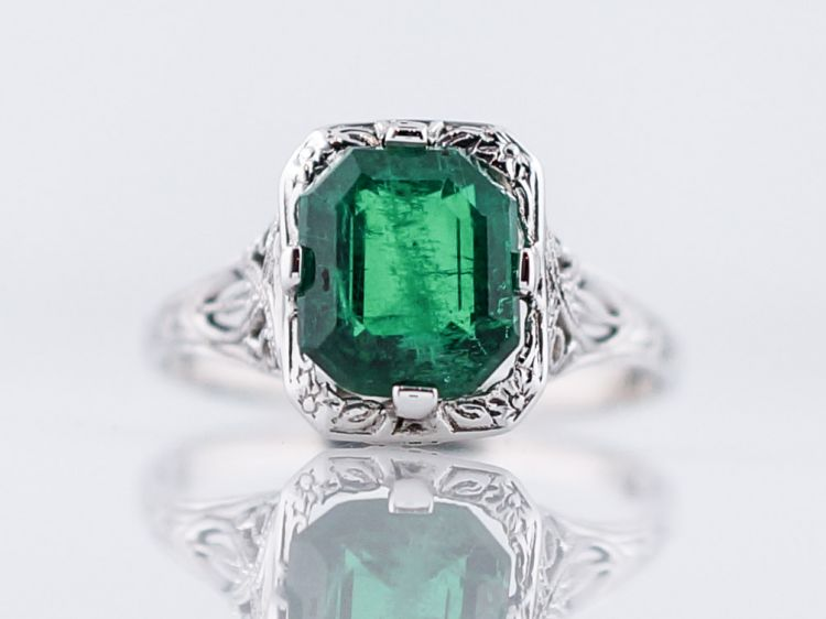 Antique Engagement Ring Art Deco 1.93 Emerald in 14k White Gold