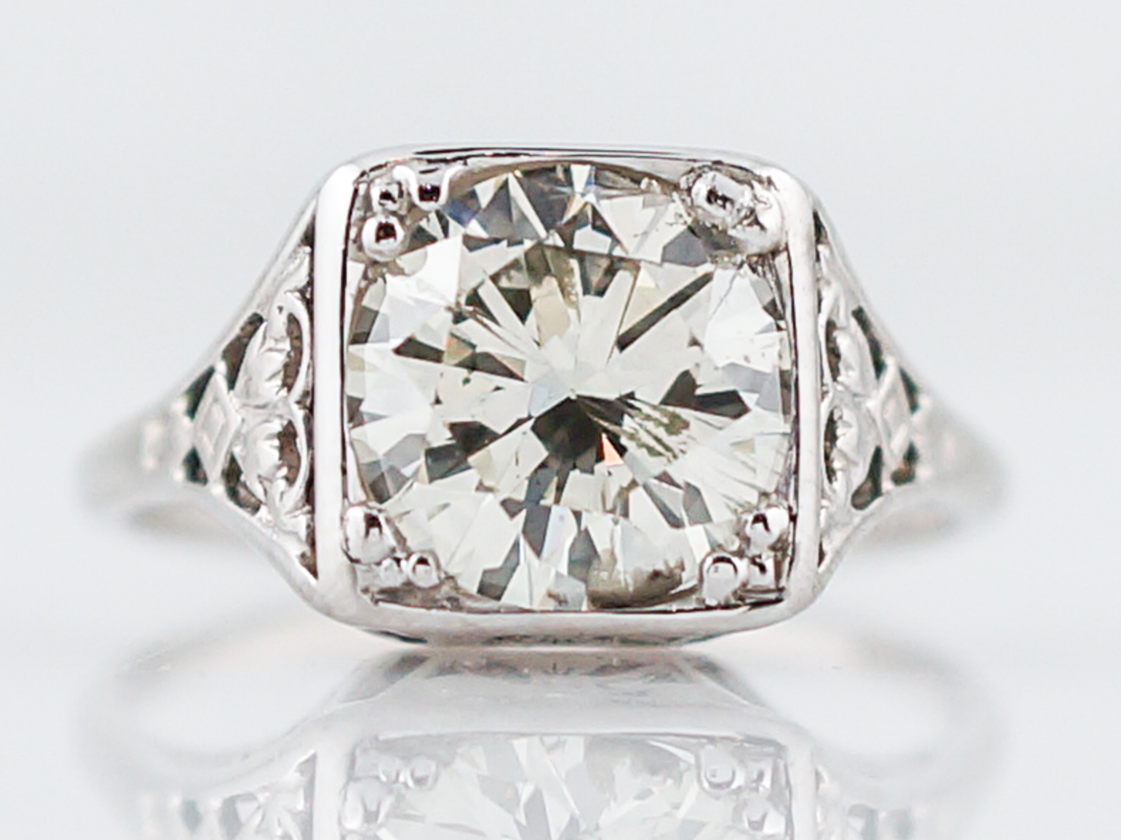 Antique Engagement Ring Art Deco 1.84 Round Brilliant Cut Diamond in 14k White Gold-1