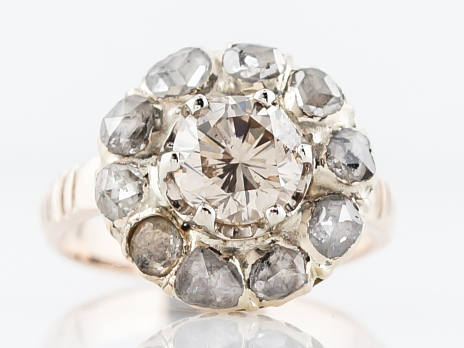 Antique Right Hand Ring Victorian 1.03 Round Brilliant Cut Diamond in 10k Yellow Gold-1